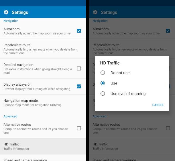 mapfactor Navigator - Live HD traffic - Settings