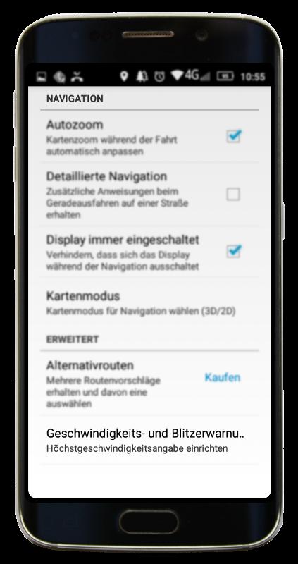 Navigator 2.2 - Navigation Einstellungen Menu