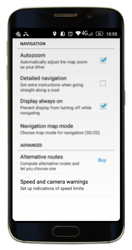Navigator 2.2 - Navigation settings menu