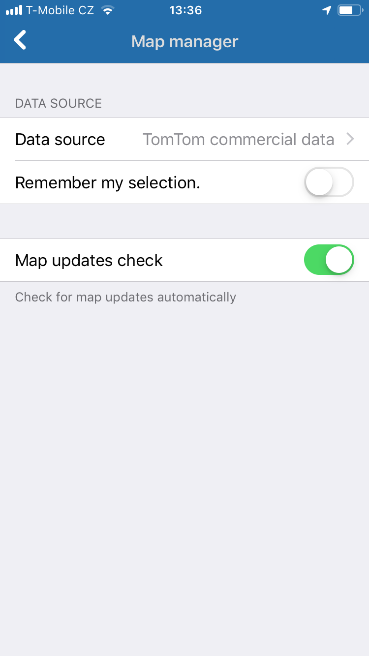 Navigator 2.0 for iOS - Map manager - TomTom maps