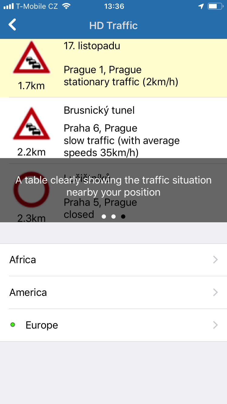 Navigator 2.0 for iOS - HD traffic - table overview