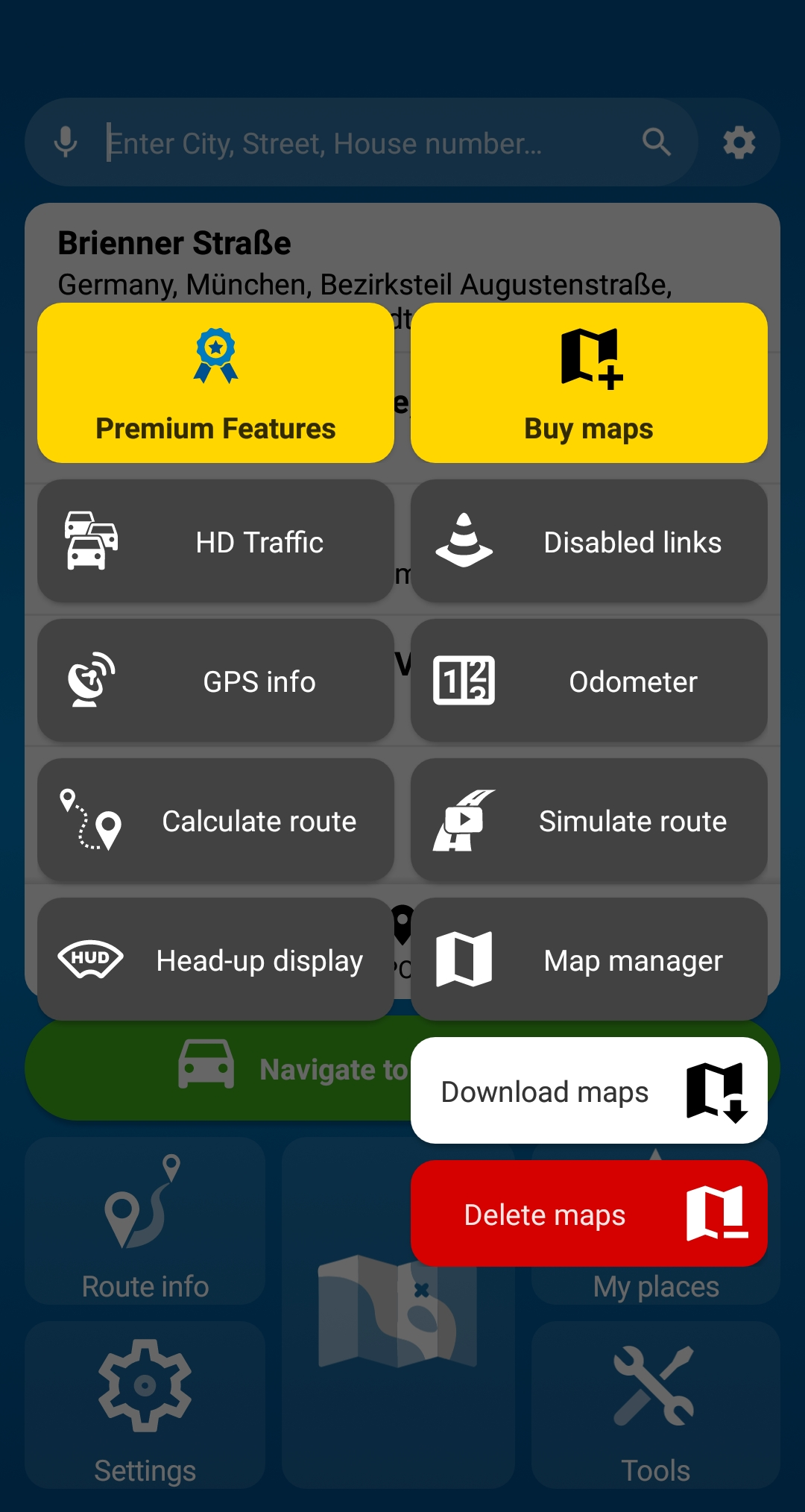 MapFactor Navigator 6 - Tools with Map manager