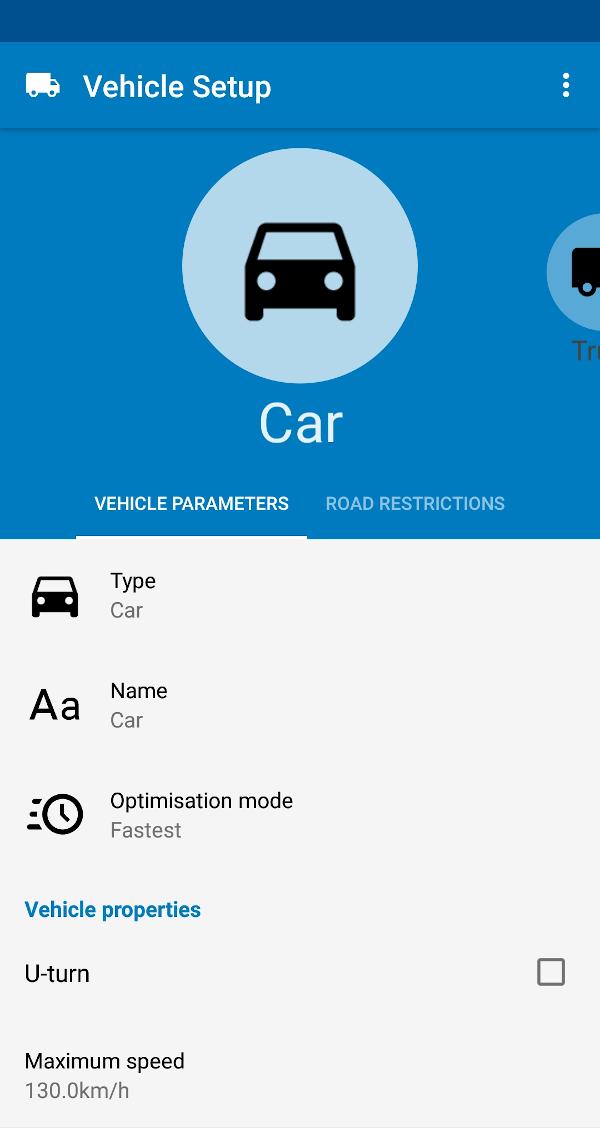 MapFactor Navigator 6 - Vehicle profile