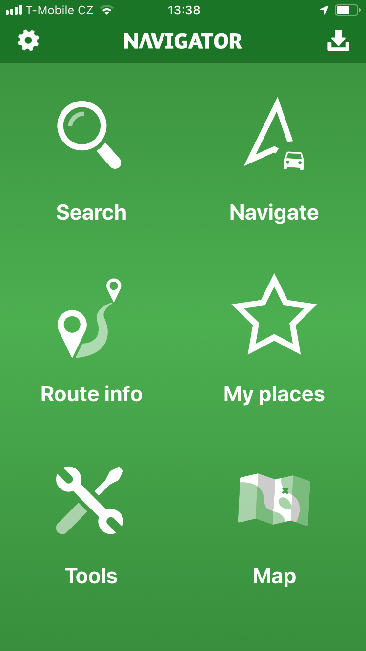 Navigator Free 2.0 for iOS - green menu