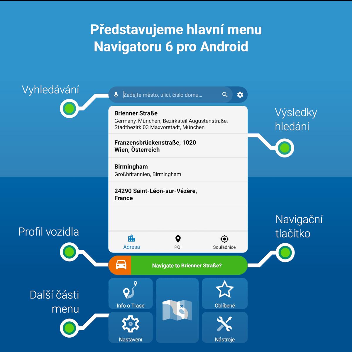 Představujeme hlavní menu Navigátoru 6 pro Android