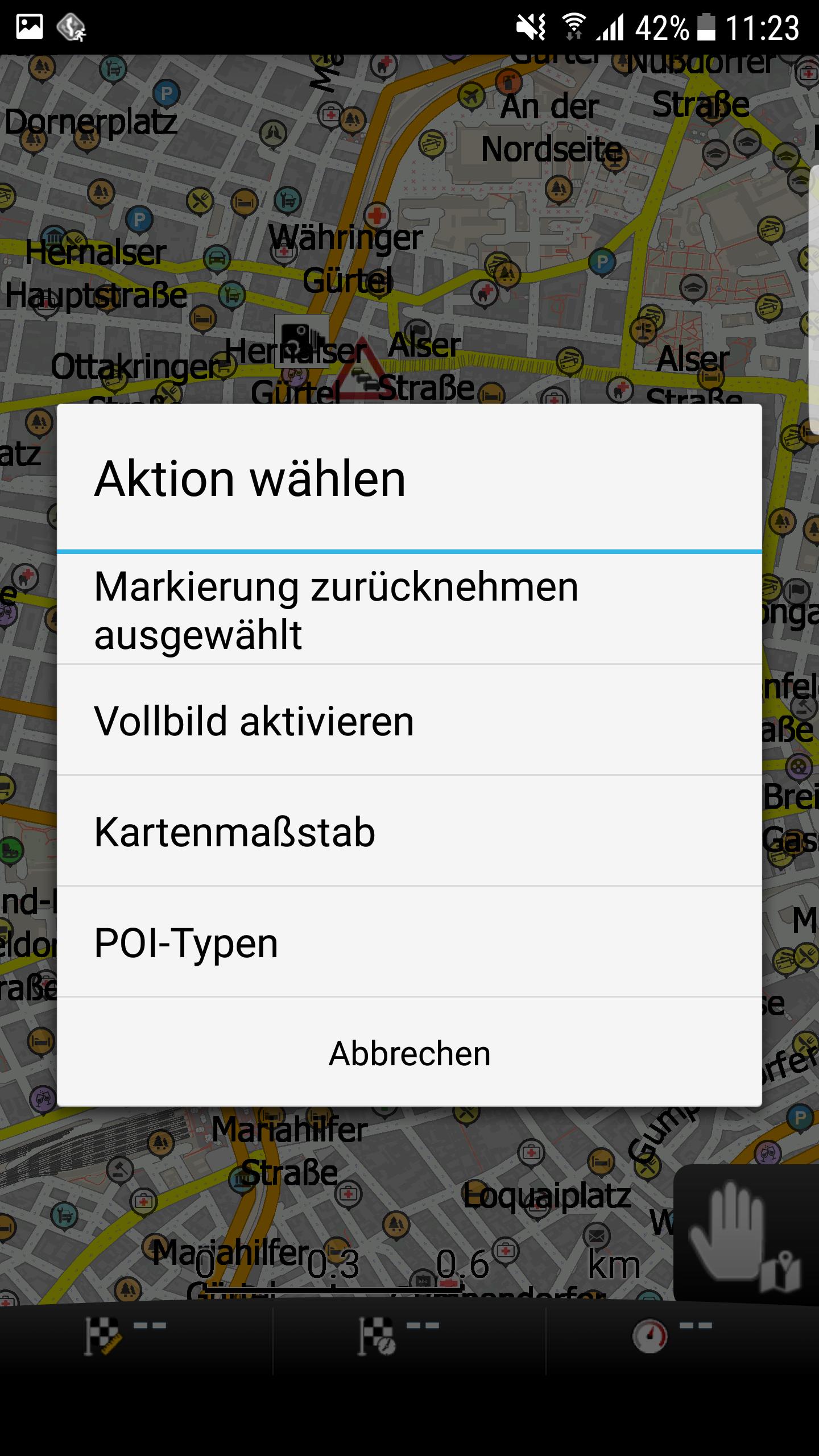 mapFactor Navigator 3.1 -Schnellaktionen bei der Kartenbetrachtung