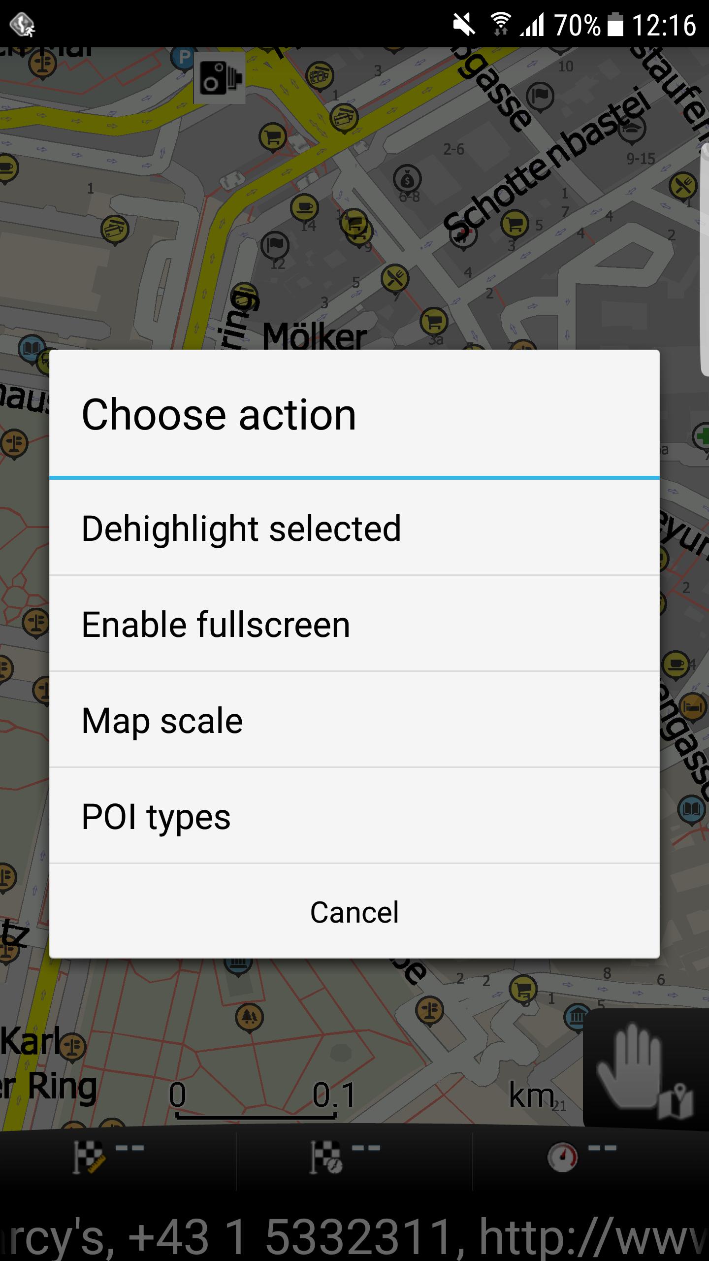 mapFactor Navigator 3.1 - Quick actions in Map view
