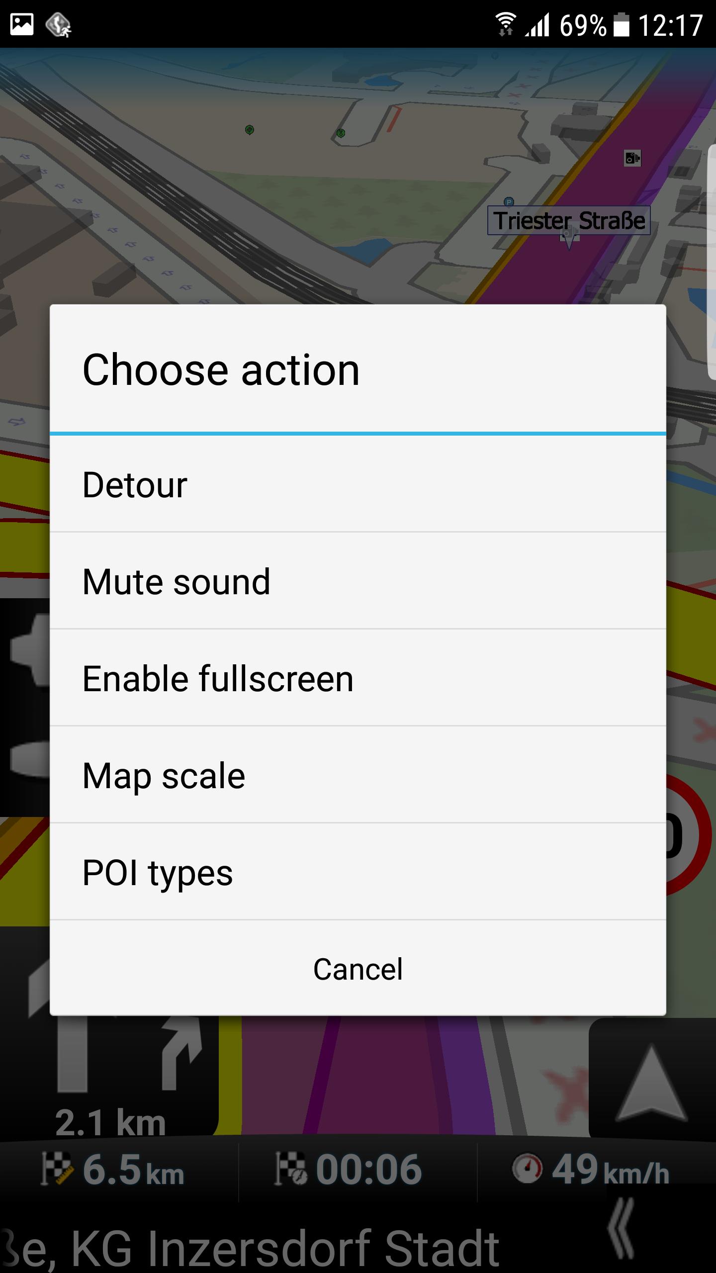 mapFactor Navigator 3.1 - Quick actions in Navigation