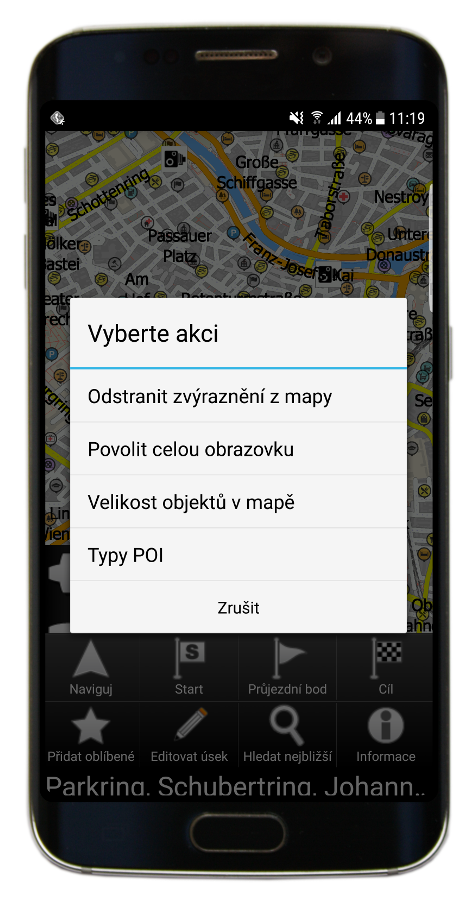 Mapa - Rychlé akce (Navigator 3.1)