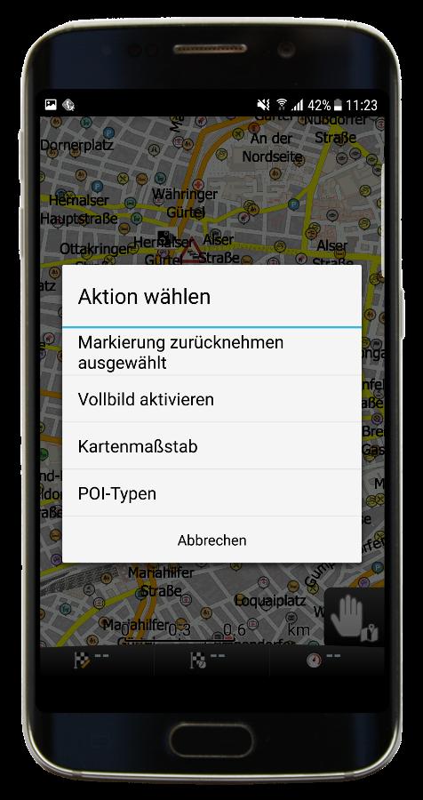 Karte - Schnellaktionen (Navigator 3.1)