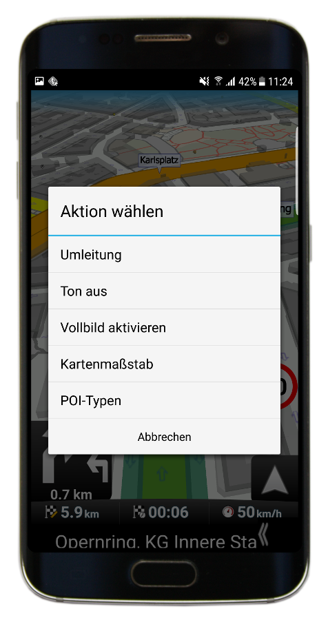 Navigation - Schnellaktionen (Navigator 3.1)