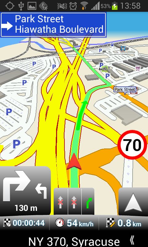 MapFactor Navigation Screen Map