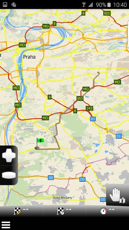 MapFactor Navigator 2.1 – Zobrazení trasy na mapě