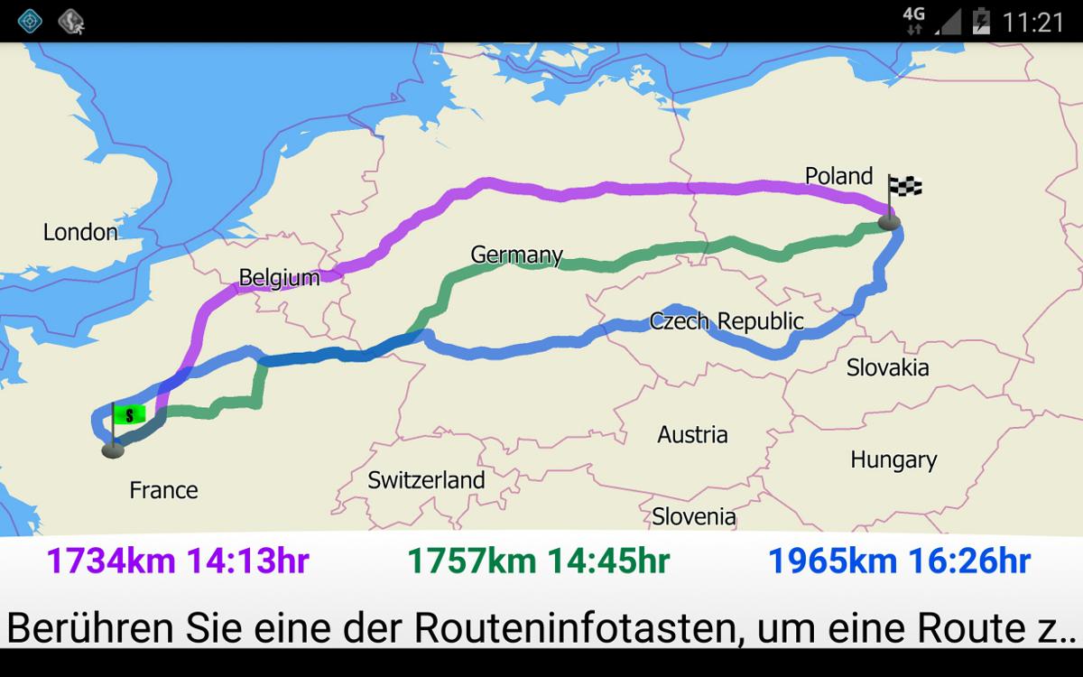 MapFactor Navigator 2.1 – Alternativrouten