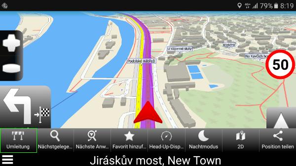 Navigator 2.2 - Umleitung-Funktion in der neuen Karten-Toolbar