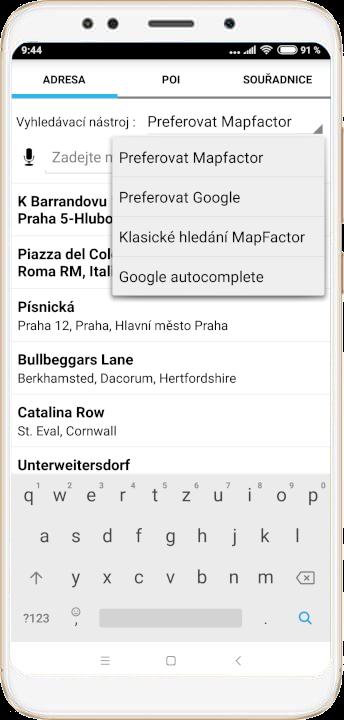 mapFactor Navigator 4.0 - Možnosti vyhledávání