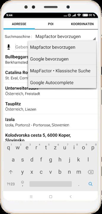 mapFactor Navigator 4.0 - Suchmethode