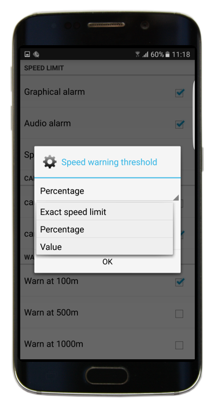 Navigator 2.2 - Speed limit threshold options