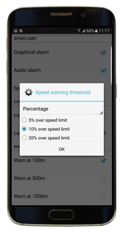Navigator 2.2 - Speed limit threshold - percentage