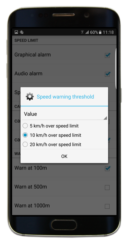 Navigator 2.2 - Speed limit threshold - value