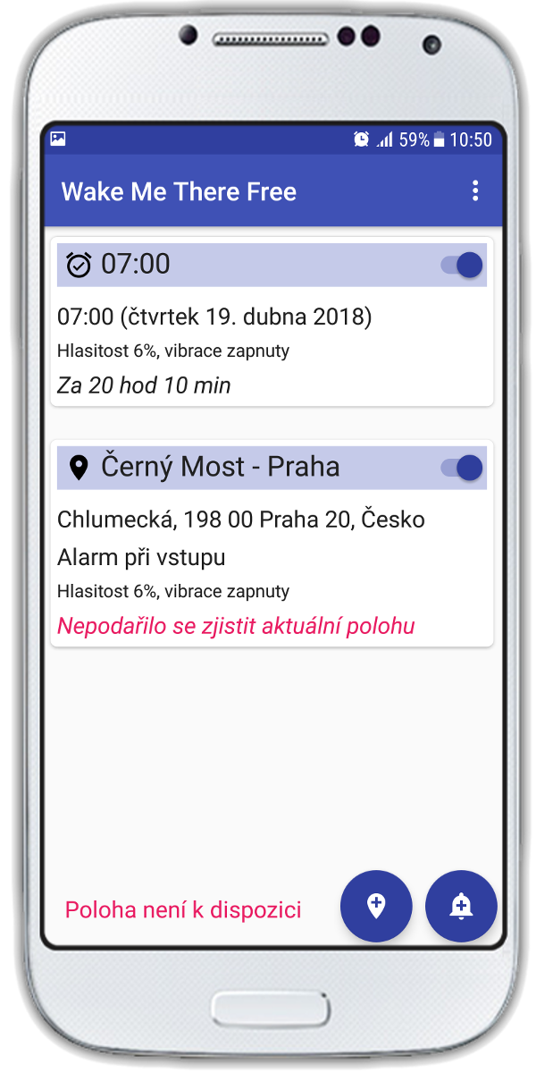 Hlavní obrazovka Wake Me There - GPS 
