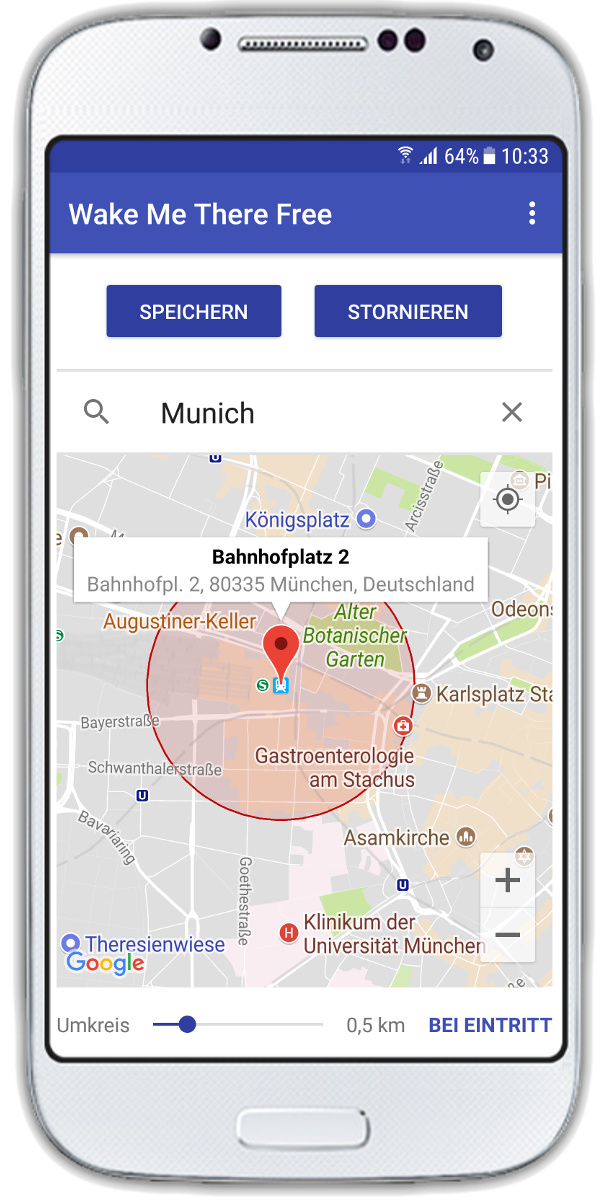 Einstellung des GPS-Alarms in Wake Me There - GPS Alarm