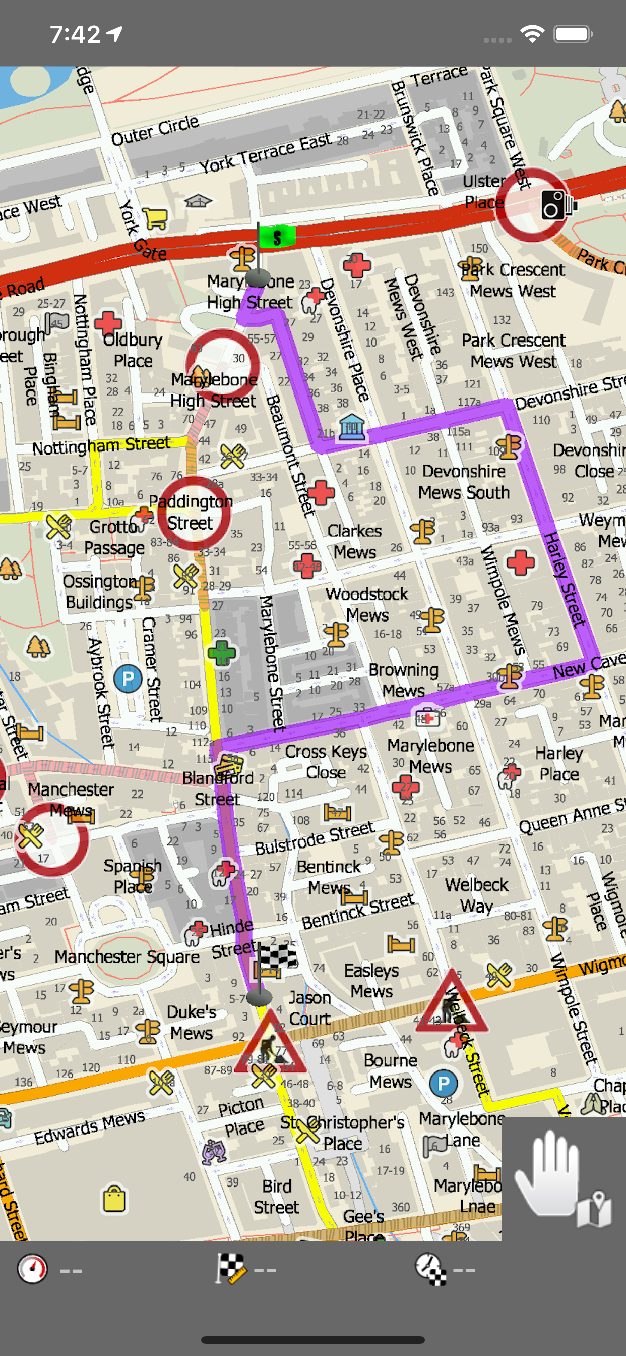 Navigator 2.0 for iOS - a route calculated using HD traffic information