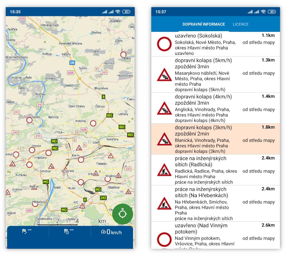 mapfactor Navigator - dopravní informace
