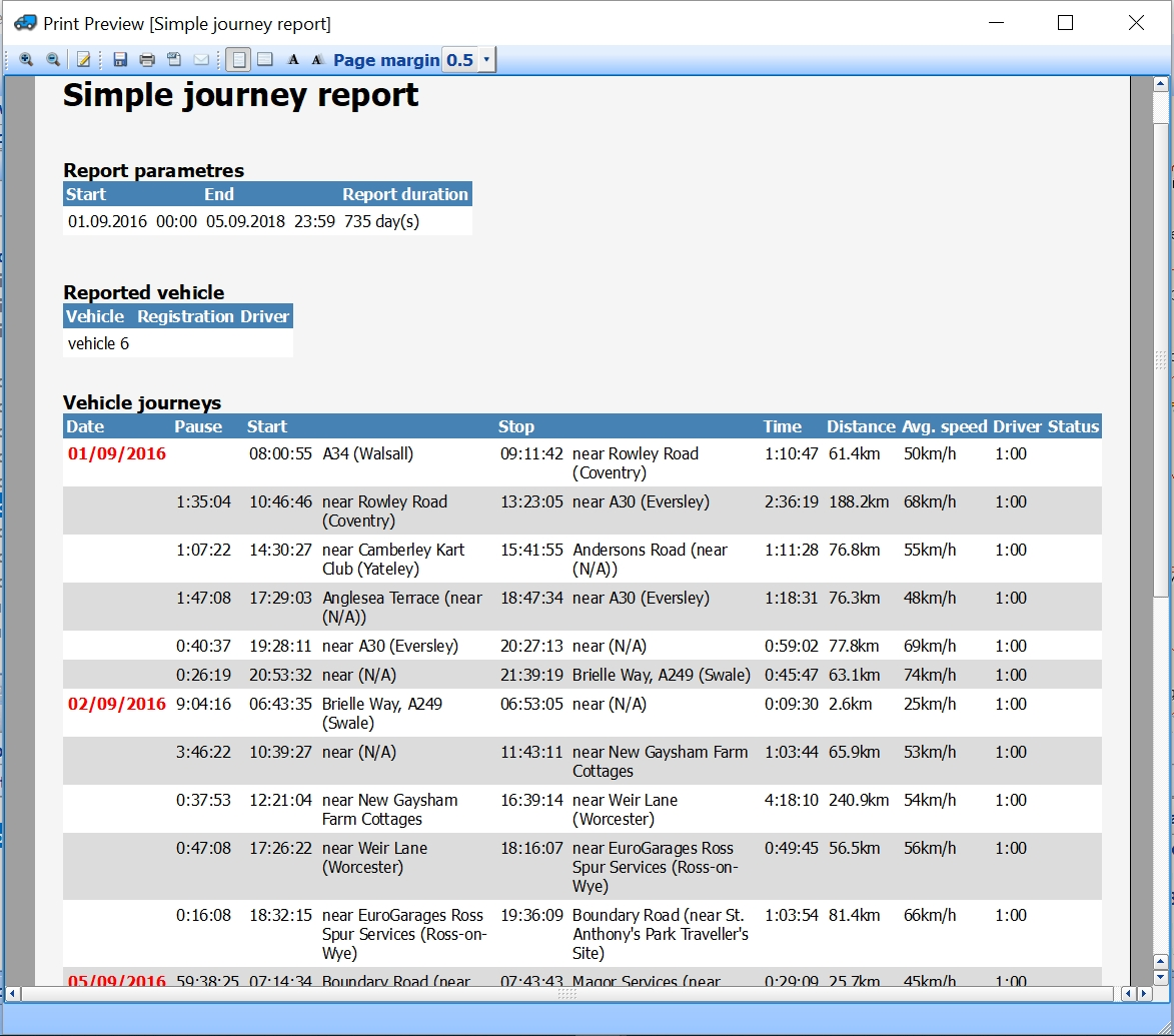 mapExplorer - journey report