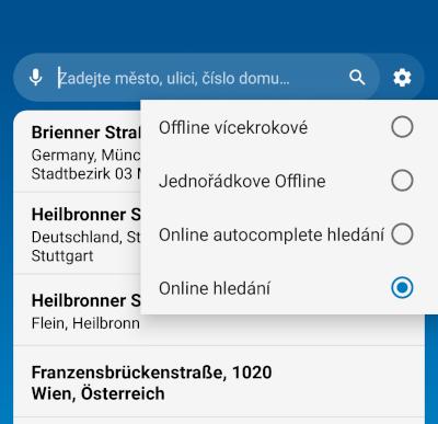MapFactor Navigator 6 - Možnosti nastavení vyhledávání