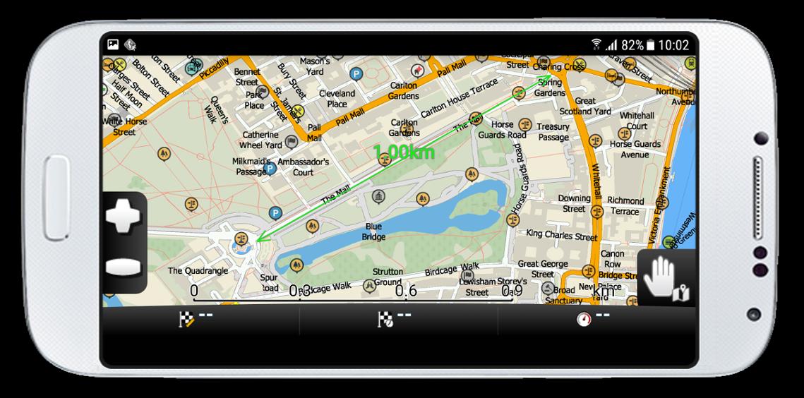 Screenshot Navigator - měření vzdálenosti